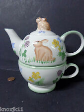 NEW 3 Piece TEA FOR ONE Teapot Tea Cup & Lid Easter Bunny Rabbit Floral Garden!