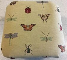 """Tapestry Footstool 14"""" / 36cm Square Butterflies & Beetles Bugs Insects"""