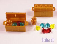 LEGO - 2 x Schatzkiste goldfarben mit 2 x Goldkristall und 12 Diamanten NEUWARE