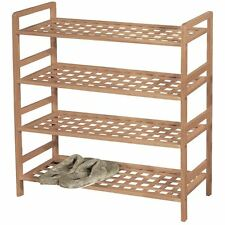 4 Tier Criss Cross Shoe Rack Stand Storage Shelf Walnut Wood By Home Discount