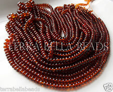 "7"" half strand AAA HESSONITE GARNET smooth gem stone rondelle beads 4mm - 5mm"
