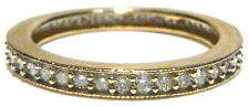 WIDE 10K YELLOW GOLD .85CT DIAMOND STACKABLE STACKING ETERNITY RING BAND SIZE 10