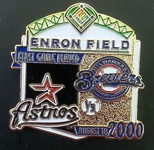 HOUSTON ASTROS vs MILWAUKEE BREWERS First Game Played ENRON FIELD Lapel Pin