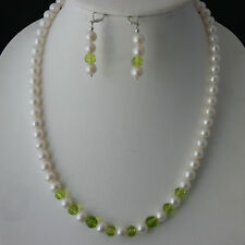 Enchanting Set Necklace With Faceted Peridot beads And A Grade Cultured Pearl