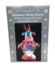Reindeer Glitter Dome Colour Changing LED Lights Christmas Ornament Decoration