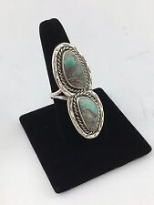 925 STERLING SILVER COPPER FLECKS 2 TURQUOISE STONE RING SIZE 10