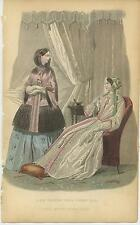 ANTIQUE VICTORIAN GIRL FASHION DRESS NIGHT GOWN FOOT PILLOW DISTRESSED PRINT