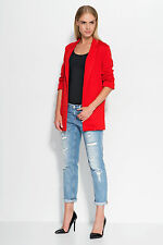 Ladies Casual Work Open Front 3/4 Turn-up Sleeve Boyfriend Jacket Blazer FA528