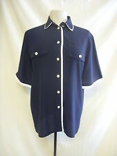 "Ladies Blouse - Mario Rosella, 38 EUR, 42"" bust, navy/white, chic, silky - 8074"