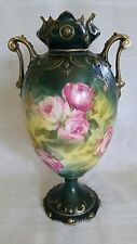 Antique RS Prussia Hand Painted Porcelain Vase Roses and Gold 9""