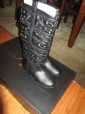 NIB COLIN STUART VICTORIA'S SECRET BLACK STUDDED MULTI STRAP FLAT BOOT BOOTS 6