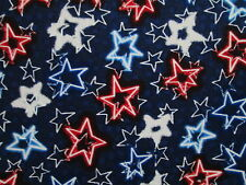 ELECTRIC STARS RED WHITE BLUE STAR DANCE PATRIOTIC USA COTTON FABRIC BTHY