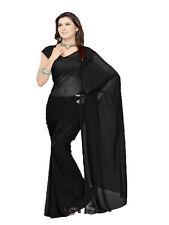 wedding chiffon plain sari Bollywood sari gypsy Boho 6 Yard sari Belly Danc Veil