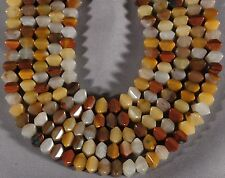 "QUARTZ & JASPER 8MM OCTAGON CUSHION BEADS 16"" STR  RED YELLOW WHITE"