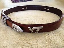 VT Snake Skin Genuine Leather Belt Brown with Virgina Tech Conchos Size 32