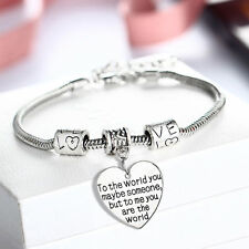 Silver Plated Family Bangle Bracelet Love Words Charm Beads Women Jewelry Gift