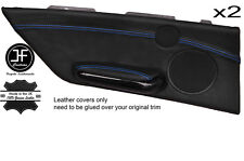 BLUE STITCH 2X REAR DOOR CARD TRIM LEATHER COVER FOR BMW E46 CONVERTIBLE 98-05