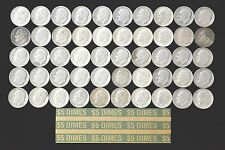 ROLL OF Roosevelt Dimes (50) Coins U.S.90% Silver Various Dates NO RESERVE