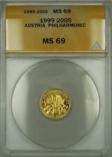 1999 Austria Philharmonic 200 Schilling Gold Coin ANACS MS-69 Nearly Perfect Gem