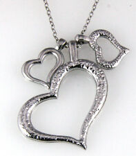 6030117 Inexpensive Silver 3 Three Hearts Necklace Cheap Valentines Gift