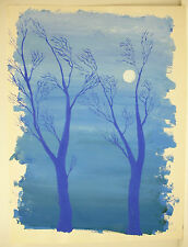 Aquarellle arbres bleux et pleine lune Watercolor blue trees and full moon 32 cm