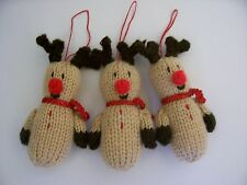 KNITTED CHRISTMAS RUDOLF HANGING TREE DECORATIONS * KNITTING PATTERN NEW*
