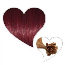 25 Extensiones rojo vino#35,75 cm,calidad Premium,Pelo humano Remy,rojo oscuro