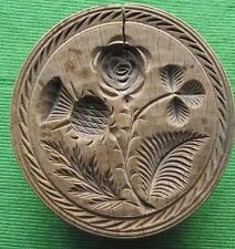 Lovely Scottish 19th Cent Wood Treen Carved Butter Stamp - Thistle Rose Shamrock