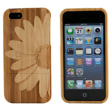 Genuine Bamboo Engraved Flower Daisy Natural Wood Case Cover For Apple iPhone 6