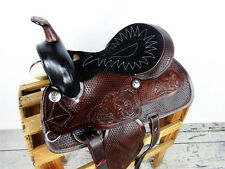 """15"""" BROWN TOOLED LEATHER WESTERN HORSE COWBOY SHOW PLEASURE TRAIL SADDLE TACK"""