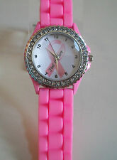 Pink Ribbon Breast Cancer FIND THE CURE Awareness Silicone Rhinestone Watch