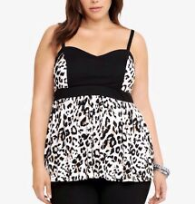 New Pinup Torrid Ivory Sweetheart Ivory Multi Leopard Print Babydoll Cami Top 3x