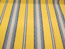 Blue & Yellow Striped Jacquard Curtain Fabric.