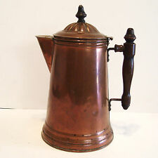 Antique Copper Coffee Pot with Wooden Handle and Knob