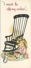 VINTAGE GIRL CHILD ROCKING CHAIR GRAY TABBY CAT KITTEN GREETING ART CARD PRINT