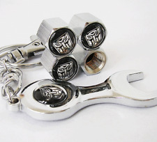 Transformers Autobot Tyre Tire Valve Caps Covers + Wrench Keychain For Benz BMW