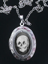 Skull Optical Illusion Lady at Mirror Ornate Silver Locket Necklace *Goth/Weird*