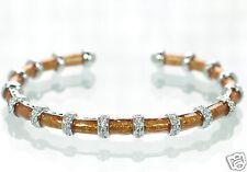 Joseph Esposito Diamonique Solid 925 Sterling Silver Enamel Cuff Bracelet '