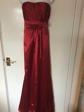 Red satin prom dress ball gown size 12