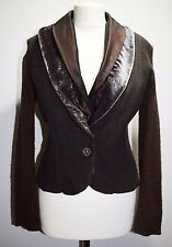 UNUSUAL BOILED WOOL JACKET CARDIGAN VELVET SHAWL SEXY GOTH STEAMPUNK STYLE 10 S