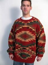 POLO COUNTRY RALPH LAUREN HAND KNIT WOOL NAVAJO PRINT AZTEC SWEATER PULLOVER~XL