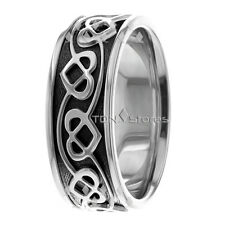 14K Gold Black Celtic Heart Wedding Bands Mens Celtic Heart Wedding Rings Band