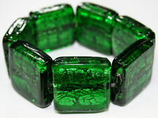 EMERALD GREEN chunky&heavy MURANO GLASS big BEAD BRACELET silver foil stretch