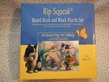 RIP SQUEAK & FRIENDS Board Book 'A Good day for Abbey' Block Puzzles Set