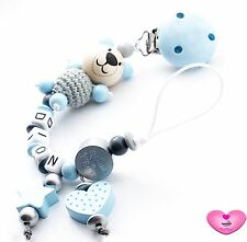 ♥ Schnullerkette mit Namen ♥ 3D Teddy ♥ Prinz ♥ Herz ♥ Stern ♥ Babygeschenke