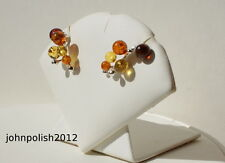 Multicolours Baltic Amber Balls Earrings with Silver 925