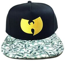WU-TANG CLAN SNAPBACK HAT CAP CASH MONEY FLAT BILL ADJUSTABLE BLACK YELLOW LOGO