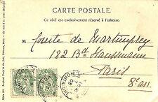 """CPA """" UN MOT A LA POSTE """" VUE ETANG COMTE DE MARTIMPREY BLD HAUSSMANN PARIS 1903"""
