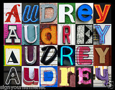 AUDREY Name Poster - photos of sign letters