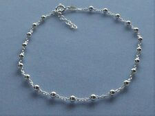 """ITALY 925 STERLING SILVER ANKLE BRACELET-ADJUSTS  9"""" to 10""""- Link w/3mm BEADS"""